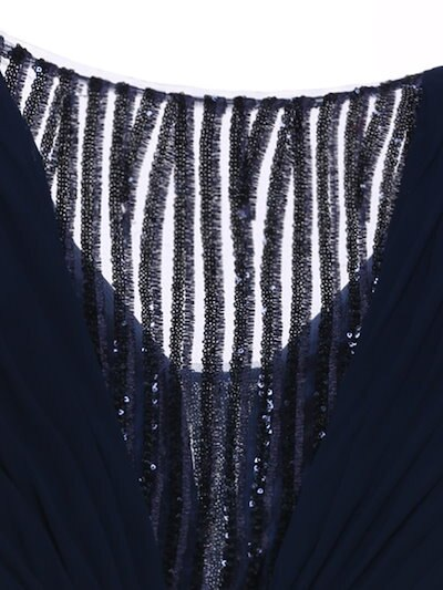 VネックスパンコールAラインイブニングドレス