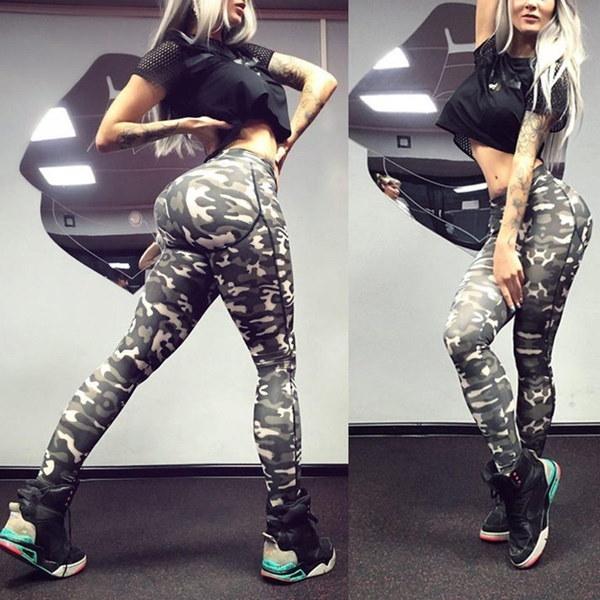 女性の薄い迷彩プリント圧縮ランニングタイツヨガワークアウトパンツスポーツジムスリムフィットネス