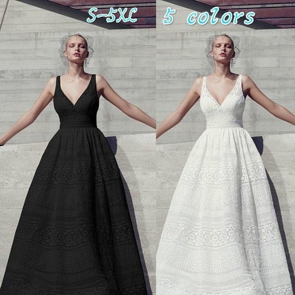 ホワイトプリンセスワンピーススウィングドレスウェディングドレスイブニングドレス女性、黒色presale