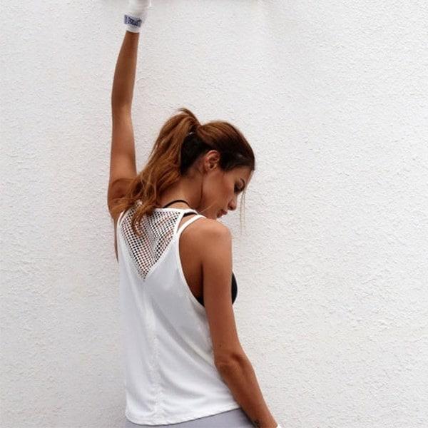 2017セクシーな女性のシャツヨガトップクイックドライランニングシャツトップ通気性スポーツジムタンクトップスポーツClo