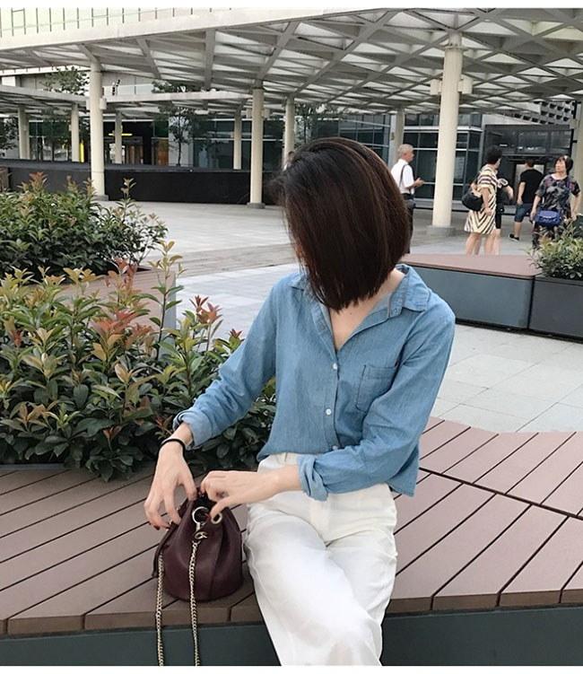 レディース服 女性 ファッション トップス 上着 秋服 韓国風 シャツ デニム ゆらっと vネック フリーサイズ ショート丈 ポケット カジュアル ブラウス