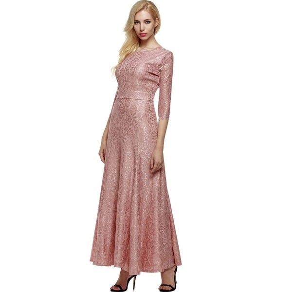 ANGVNS Women 2/3 Sleeve Long Gown Maxiパーティーイブニングフォーマルドレス+ギフトネックレス