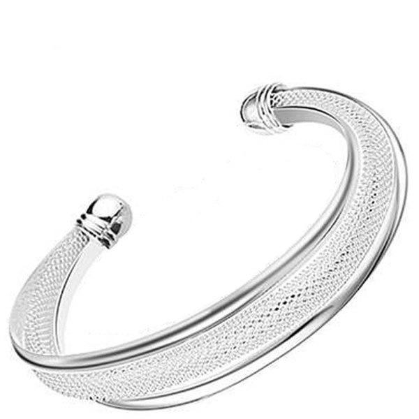 ファッション女性の女性の宝石類925スターリングシルバーバングルカフブレスレット高品質のギフト