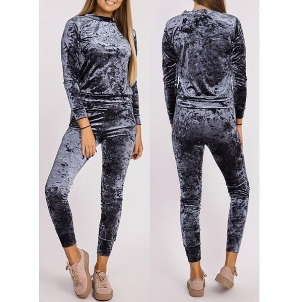 Hot Sale Velvet Tracksuit Casual Sportswear Women Sweatshirt Hoodies Fashion Leisure Velvet Suit Hom