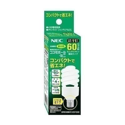 NEC 電球形蛍光灯 コスモボール・ミニ 60W E17 昼白色 EFD15EN 11-E17-C2C