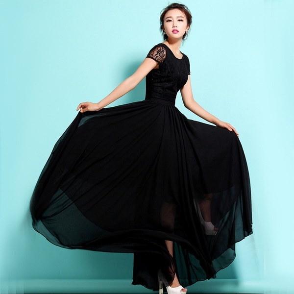 新しい女性のセクシーな夏のレースの半袖シフォンマキシロングドレスイブニングパーティーウエディングドレス