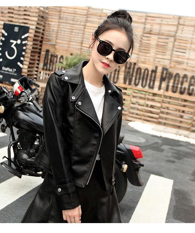 レディス服 女性 アウター コート 上着 ジャケット オーバー スタジャン ファッション 韓国風 大きい襟 ロック レザーコート 本革風 格好いい ブラック ショート丈 カジュアル