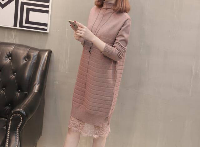[55555SHOP]✯韓国ファッション✯ピンククルーネックニット セーター