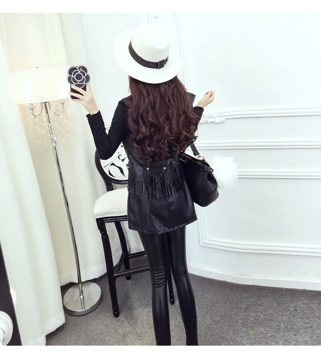 レディースファッション 女性 フェイクレザー 合皮 コート アウター ロング丈 パッチワーク フリンジ ブラック カジュアル スタッズ