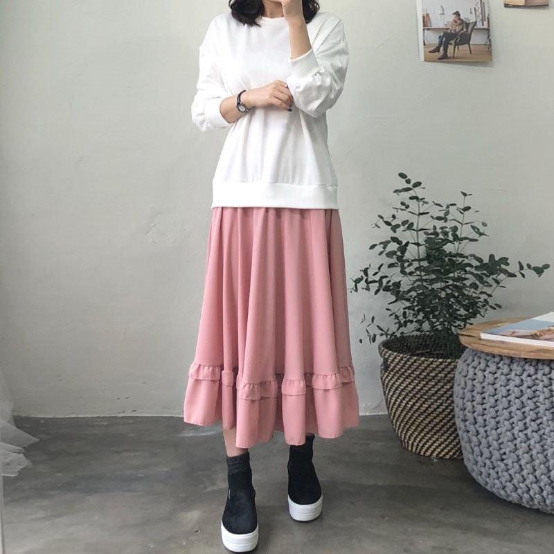 マンツーマンシフォンカンカンワンピース★韓国ファッション★マンツーマンワンピース★シフォンワンピース