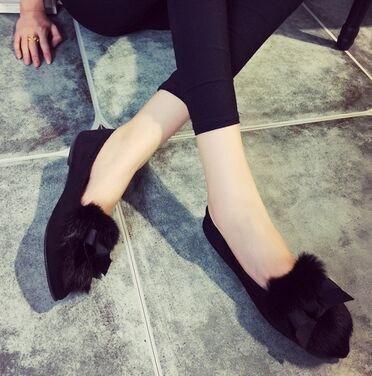 レディース靴  パンプス ペタンコパンプス 履きやすい ファー付 モテ女子必須アイテム 靴 シューズ 美脚 レディール  ヒール1cm  ハイヒール  黒 大人  オシャレ スエード ブラック グレー レオパード