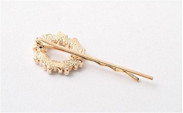 SMO女性のラインファッション女性のハートちょう結び花真珠ラインストーンヘアクリップヘアピン(サイズ:5・