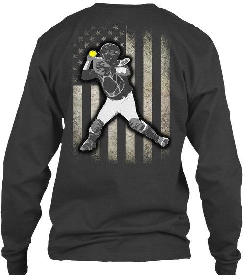 フェードドソフトボールキャッチャーの旗ギルダーロングスリーブTシャツ