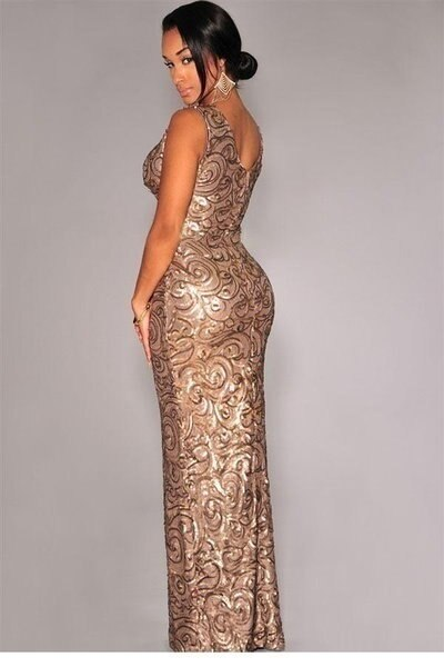 wangbaobc   Sexy Sleeveless Gold Sequined Front Slit Padded Maxi Gown occasion evening wedding party