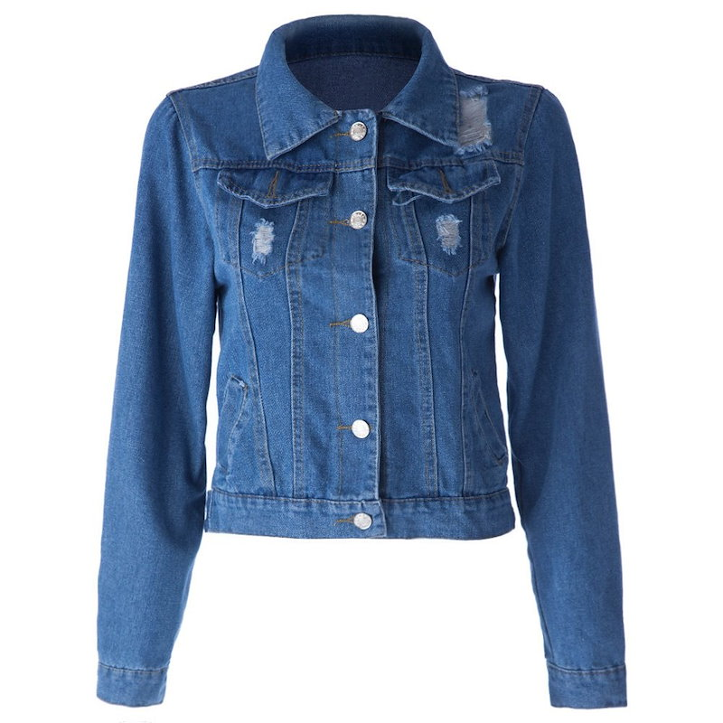 ファッションスタイルの壊れた穴ターンダウンカラーロングスリーブシングルボタンデニムレディースジャケット