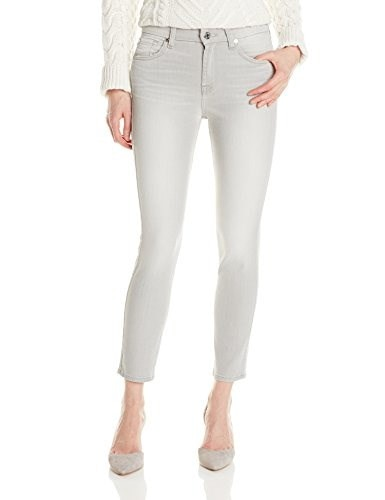 7 For All Mankind Womens Mid Rise Crop Skinny Jean, Distressed Spring Grey, 27