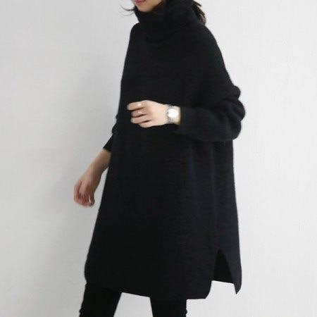 Fusa long knit tea Korean fashion style
