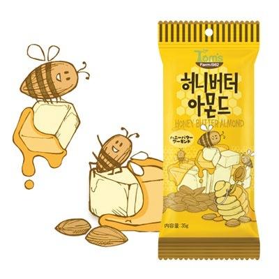 『Tom`s farm』ハ二ーバターアーモンド(35g) ナッツ ハ二−バタ−味 おつまみ 韓国お菓子 韓国食品