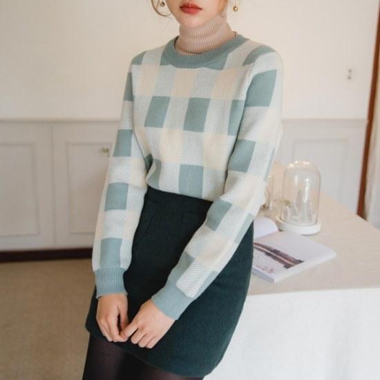 トゥウィパステルチェック・ニット ニット/セーター/ニット/韓国ファッション