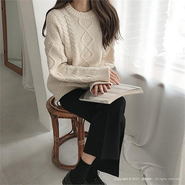 甘くケーブルウールニット/ウール80%/ラウンドネックnew 女性ニット/ラウンドニット/韓国ファッション
