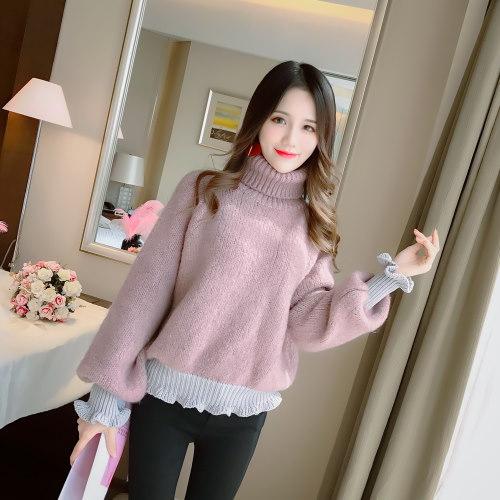 本当に新しい冬の半分タートルネックの女性のファッション緩い長袖のセーター底入れシャツの2017韓国語バージョンを作ります
