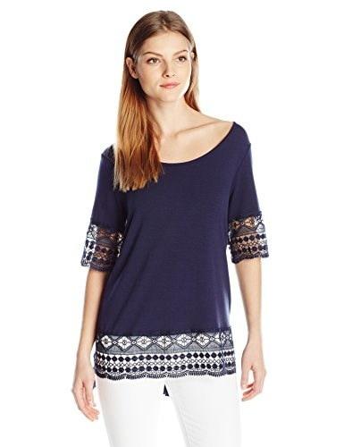 NY Collection Womens Elbow Sleeve Scoop Neck Tunic Top, Twilight, Medium