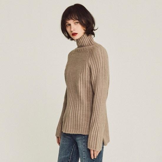 リウニクSOFT RIBBED TURTLENECK SWEATERBEIGE ニット/セーター/タートルネック/ポーラーニット/韓国ファッション