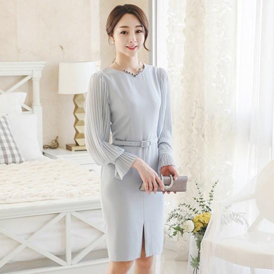 オッド小売・プリーツスリットワンピースDRI087 スーツワンピース/ 韓国ファッション