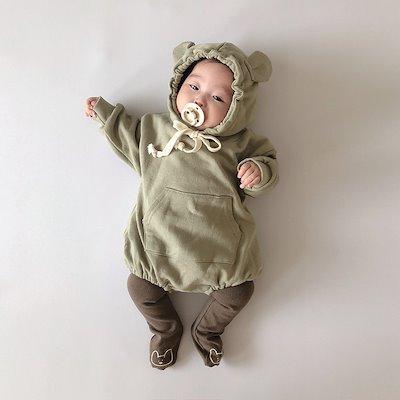 可愛いくまさんフード ロンパース パーカー スウェット 子供服ベビー服 フード付き 女の子男の子おしゃれ 赤ちゃん 新生児 綿 コットン 出産祝い プレゼント 着ぐるみ くま耳 長袖防寒 インスタ映え