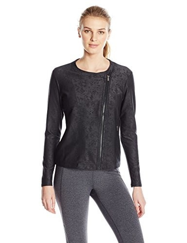 Lucy Womens Mat and Move Jacket, Lucy Black Velvet Emboss, Medium