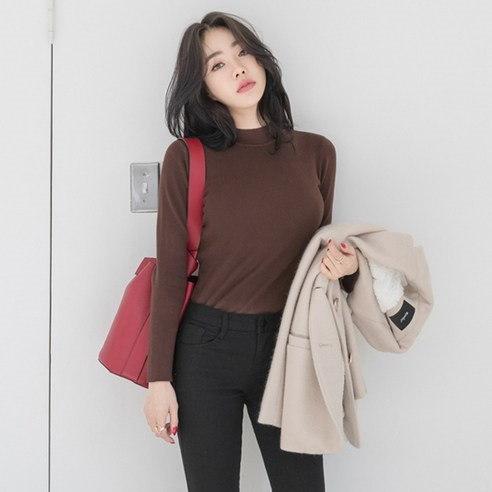 【WhiteFox]スリムフィットチョンチョン半極性の段ボールニットkorea fashion style free shipping