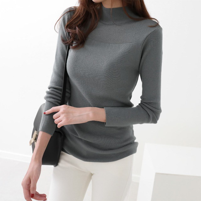 [Dimming] knit knit turtleneck knit six-color soft touch