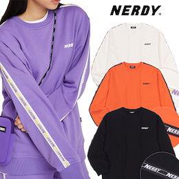 [NERDY] 公式 BIG N TAPE SWEATSHIRT SET 上意下衣 韓国人気商品 男女共用 送料無料