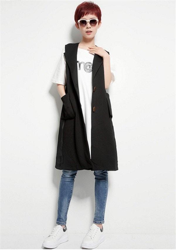 襟付きジレベスト レディース 着やせ ロング丈スーツベスト マッチングしやすい ベストコート 通勤 魅力溢れ 欧米風 秋ファッション