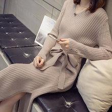 【ANDSTYLE】韓国ファッション/スリットベルトニットワンピース/共布のベルトがワンポイント スリムなウエストラインを作り出す_239122