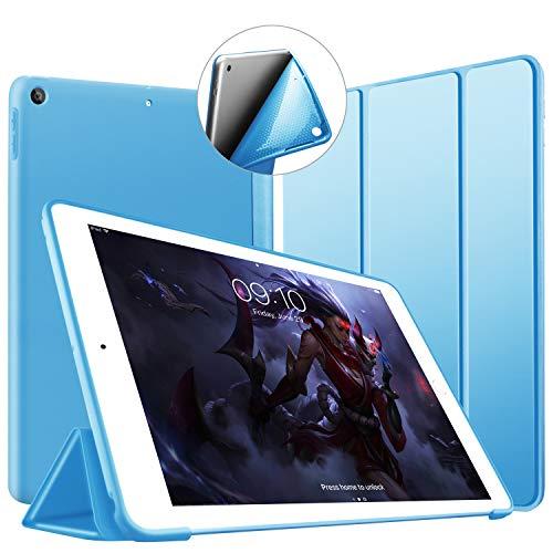 VAGHVEO新iPad9.72018/2017ケース超薄型超軽量TPUソフトスマートカバーオートスリープ機能衝撃吸収三つ折りスタンドiPadA1893/A1822/A1823/A1954用-ブルー