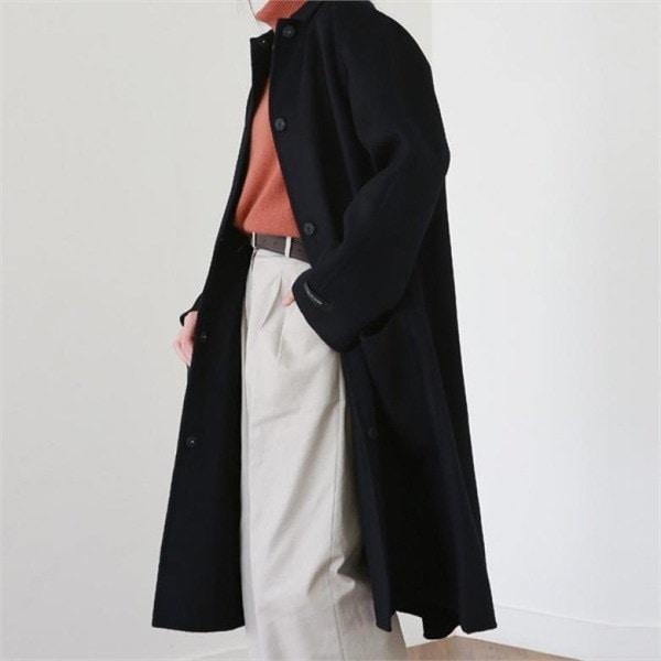 デイリー・マンデーSnap button handmade coatコートnew 女性のコート/ 韓国ファッション/ジャケット/秋冬/レディース/ハーフ/ロング/