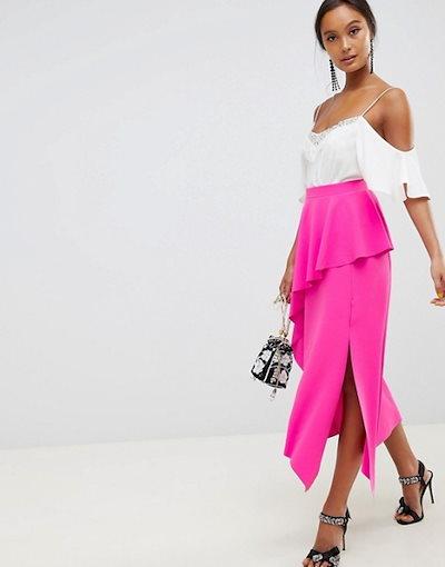エイソス レディース スカート ボトムス ASOS DESIGN midi skirt with asymmetric hem