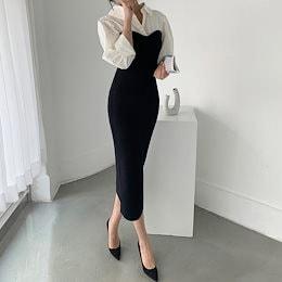 ✨DRESSCAFE✨[韓国ファッション] ♥ Limited item!♥ チューブトップスタイルシャツレイヤード風セータードレス