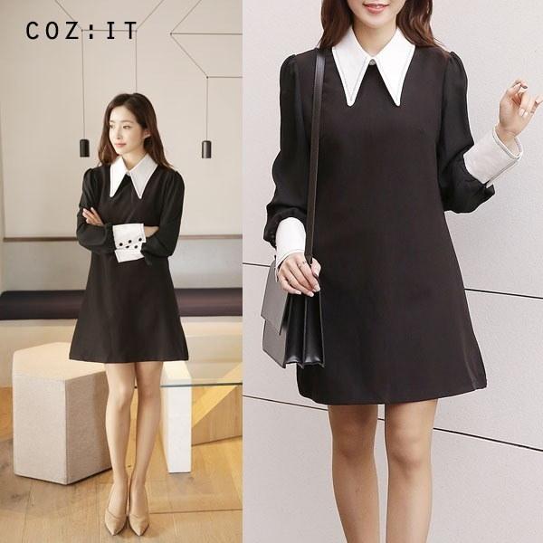 クラシックカラーワンピースnew シャツ型ワンピース/ワンピース/韓国ファッション