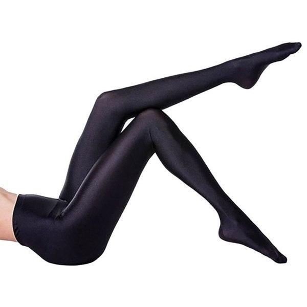 Women Sexy  High Elastic Shiny Capris Leggings Pants (Color: Black)