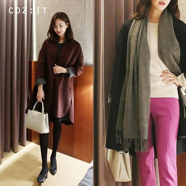 オトムカラーコート 女性のコート/ 韓国ファッション/ジャケット/秋冬/レディース/ハーフ/ロング/