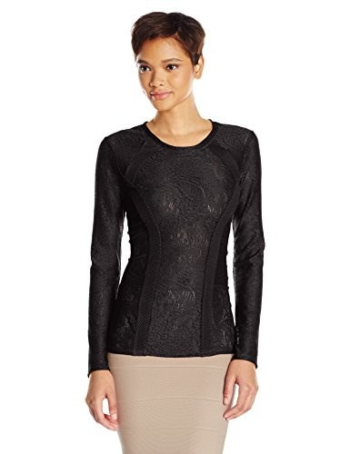 BCBGMAXAZRIA Womens Mikayla Lace Slong Sleeve Top, Black, X-Small