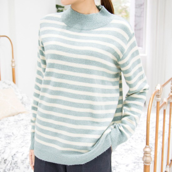 クッキーセブンP3309ハイネック・ストライプニート4color ニット/セーター/ニット/韓国ファッション