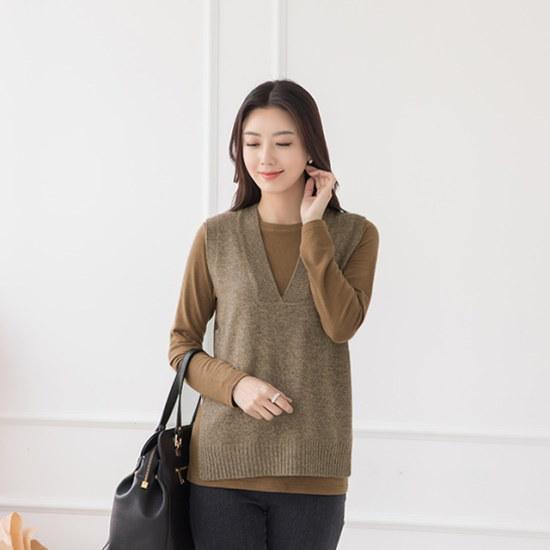 マダム4060ママの服モダンベーシックブイネクのベストXVE710003 ベセチュウ / ニット・ベスト/ 韓国ファッション