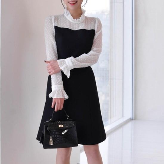 悪女日記】ivoryシフォン配色ワンピースFL シフォン/レースのワンピース/ 韓国ファッション