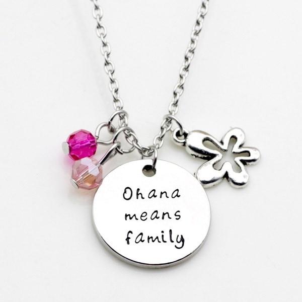 オハナは家族のネックレスの刻印チャームハイビスカスフラワーオハナネックレス(サイズ:ワンサイズ、カラー:Si