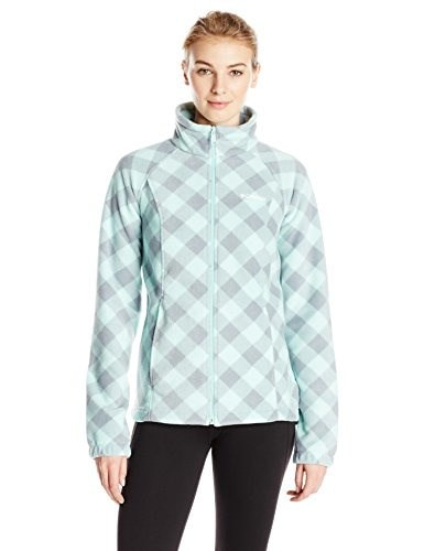 Columbia Womens Benton Springs Print Full Zip, Blue Glass Check, X-Small