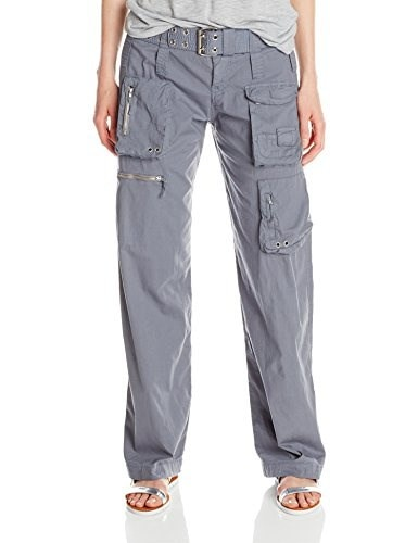 Johnny Was Womens Poplin Cargo Pant with Belt, Soot Sediment, 10