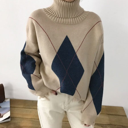 デリートアーガイルタートルネックニットKorean fashion style